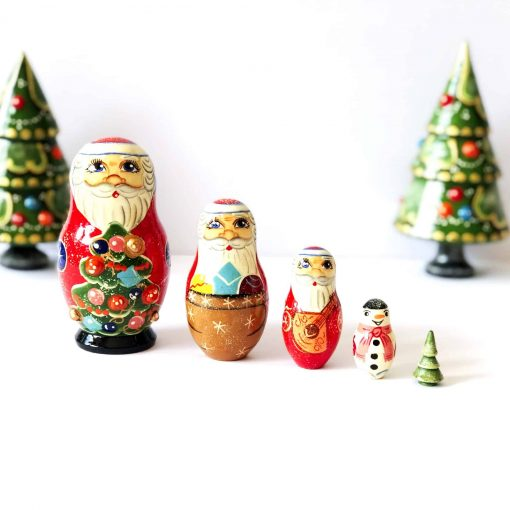 Babushka-dolls-nesting-Christmas-set-5-piece