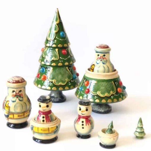 Tree-Santa-snowman-babushka-doll-nesting-set