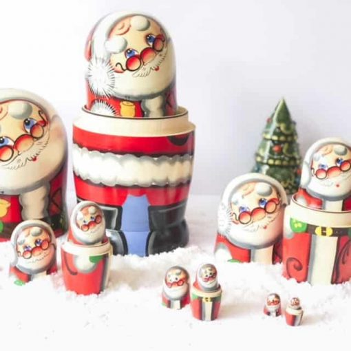 Christmas-babushka-santa-5-dolls-nesting-set